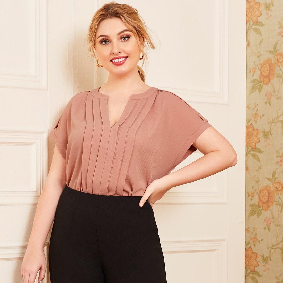 Блуза со складками размера плюс фото