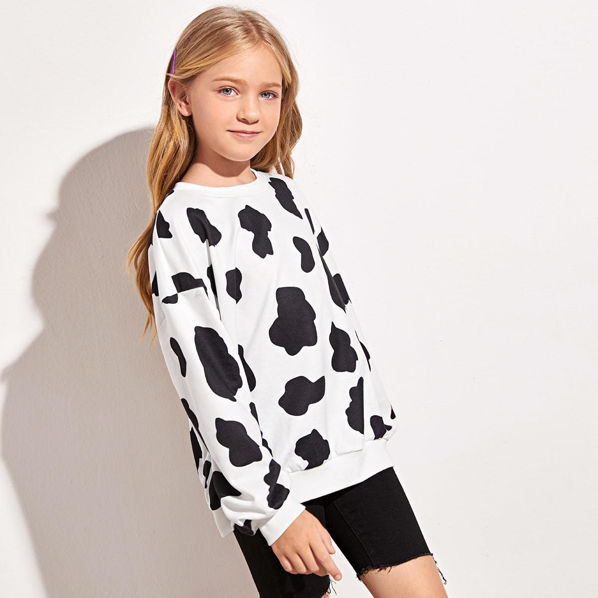 Пуловер с коровьим принтом для девочек от SHEIN