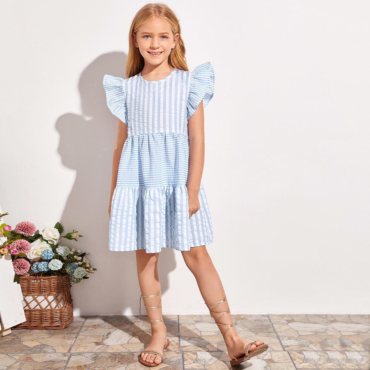 Двухцветное платье в полоску для девочек фото