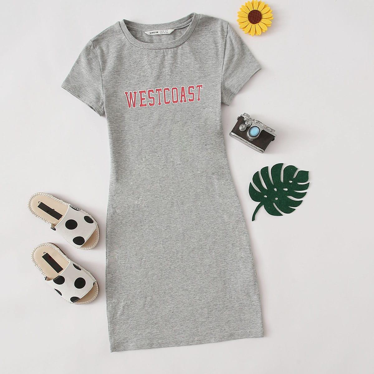 Облегающее платье с текстовым принтом для девочек фото
