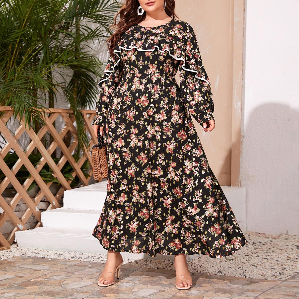 Многихцветные Кайма Цветочный Бохо Платья размер плюс фото