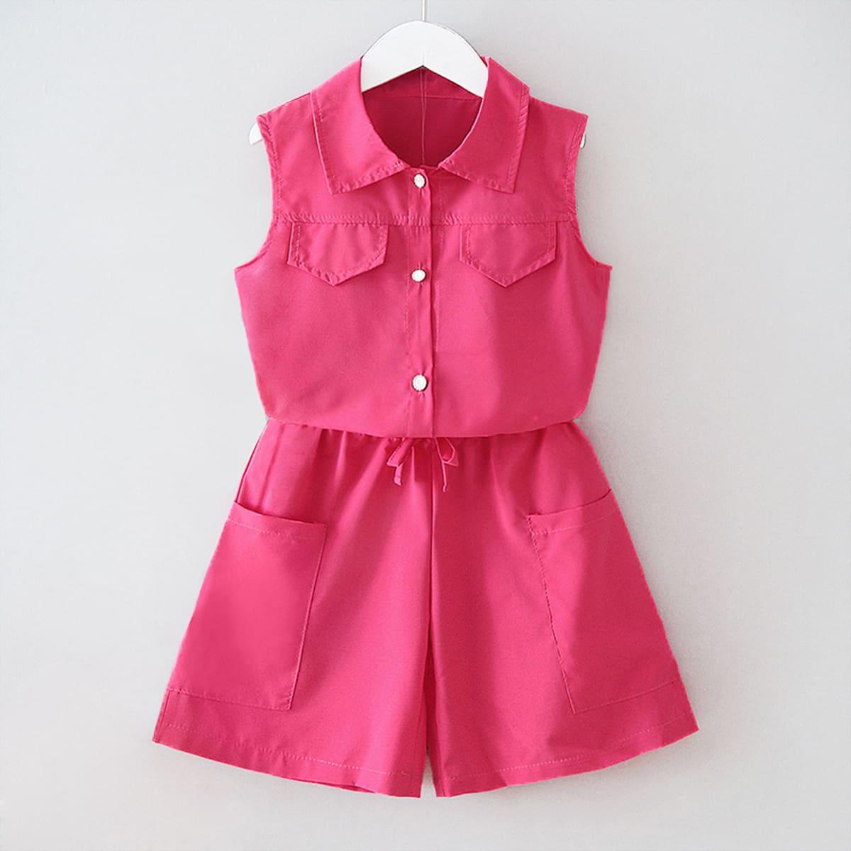 SHEIN / Heißes Pink Taschen  Einfarbig Lässig Mädchen Zweiteilige Outfits