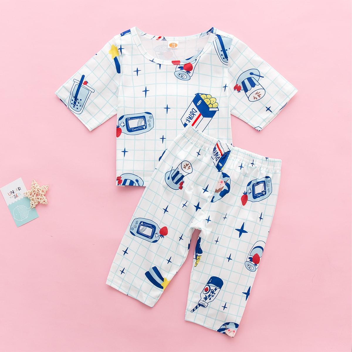 Белый Клетка милый Домашняя одежда для мальчиков от SHEIN