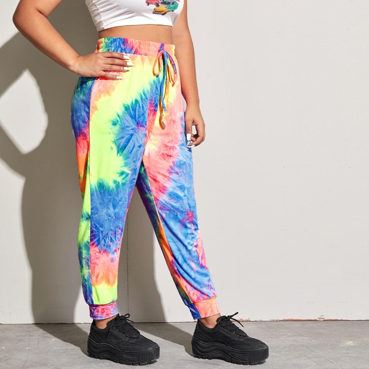 Разноцветные спортивные брюки размера плюс фото