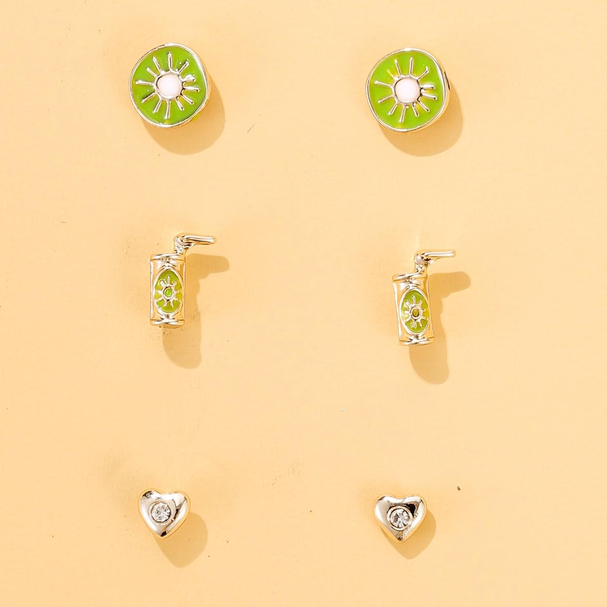3 пары серьги-гвоздики в форме фруктов для девочек