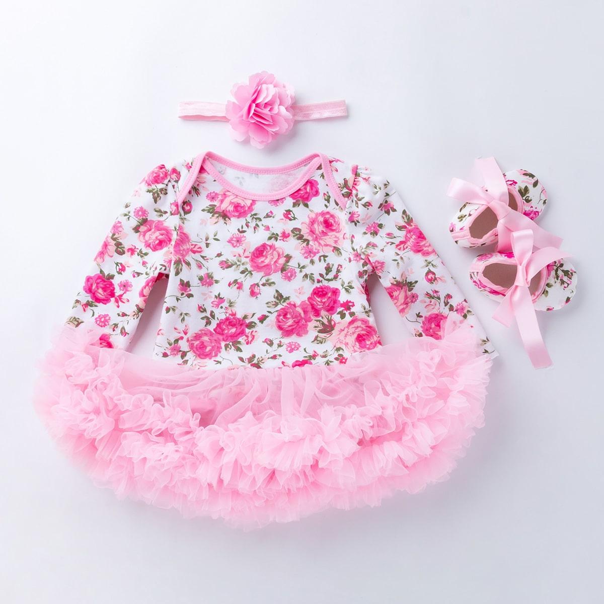Боди с цветочным принтом, повязка на голову и туфли для девочек от SHEIN