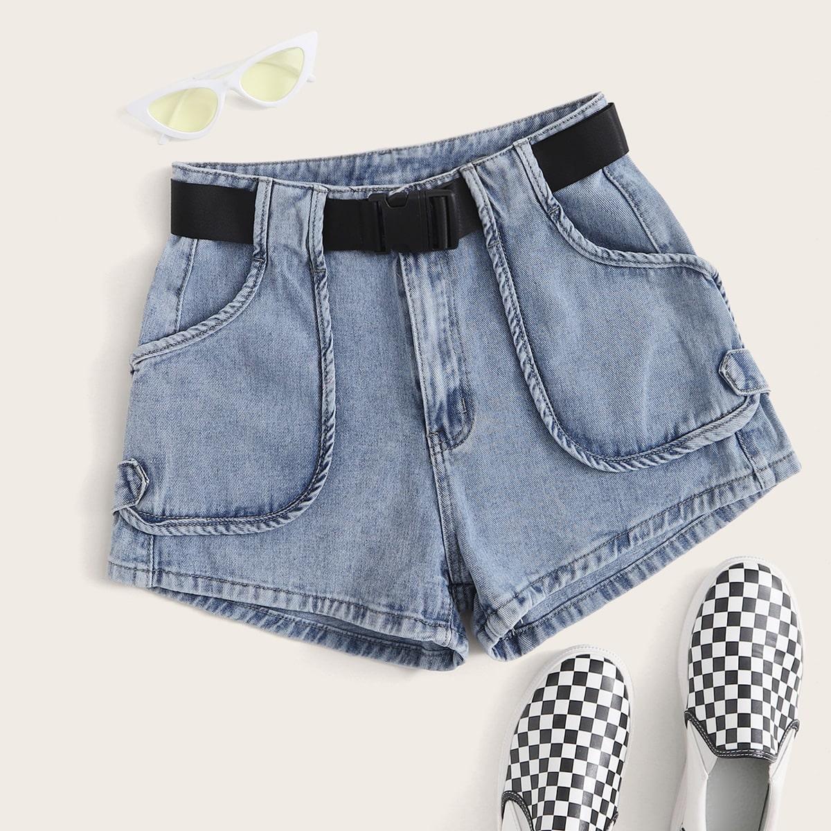 Джинсовые шорты размера плюс с поясом и карманом фото