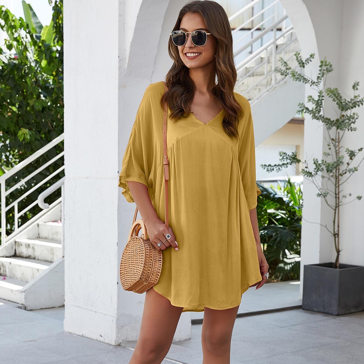Горчично-желтый высокая Низкая Одноцветный Бохо Блузы фото