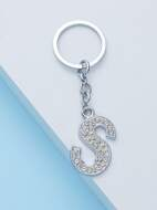 Diamond Inlayed Letter Key Chain