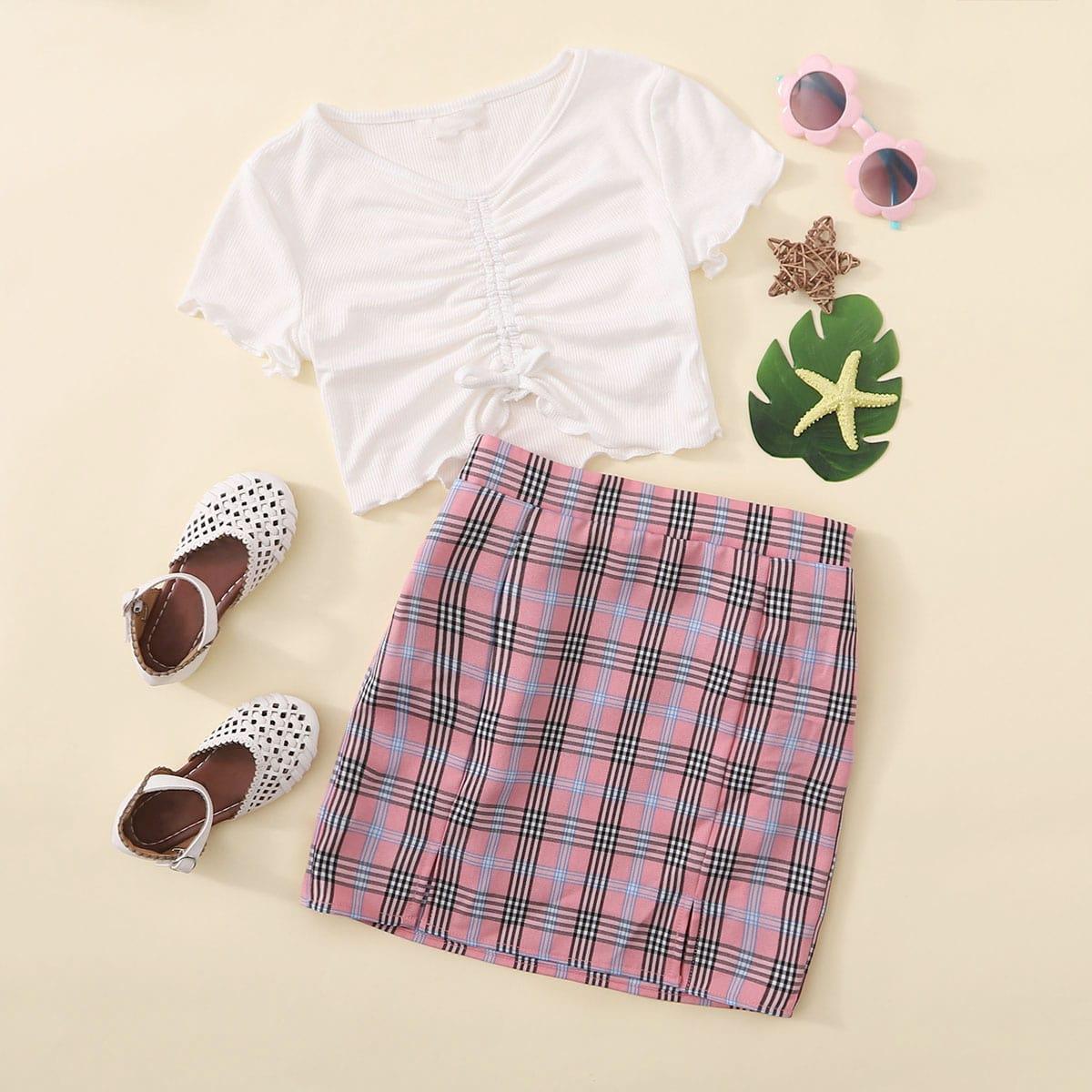 Футболка на кулиске и юбка в клетку для девочек от SHEIN