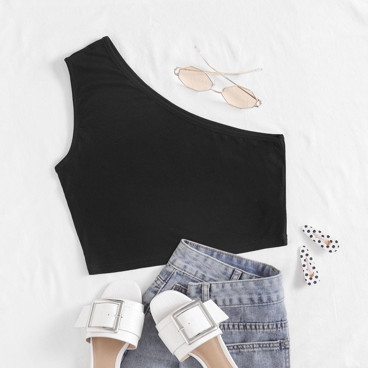 Чёрный Шнуровка Одноцветный Повседневный Женские топы размер плюс фото