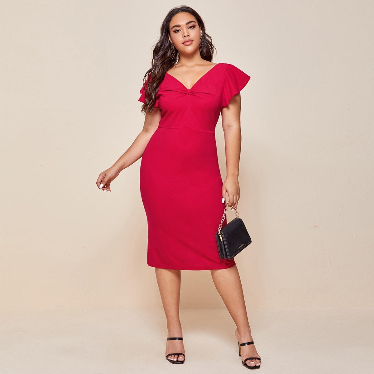SHEIN / Vestidos Tallas Grandes Drapeado Liso Rojo Elegante