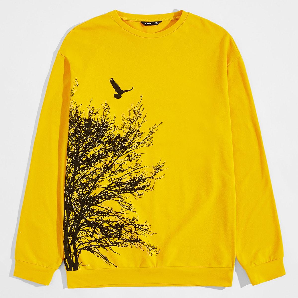 Мужской пуловер с принтом птицы и дерева от SHEIN