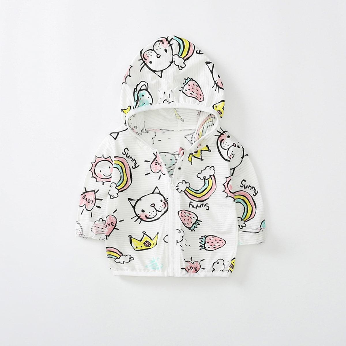 Белый на молнии С карикатурой Повседневный Пальто для маленьких девочек от SHEIN
