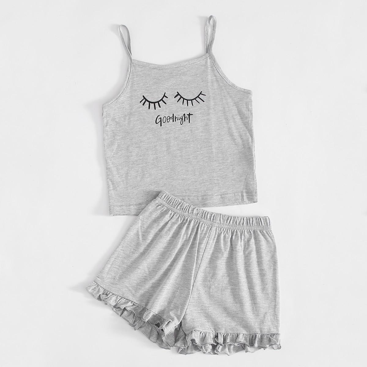 Светло-серый Низ-оборка Текст милый Домашняя одежда для девочек от SHEIN