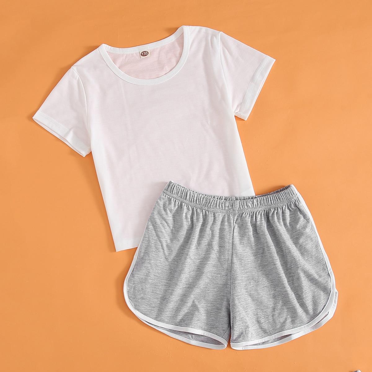 многоцветный Контрастная отделка Контрастный цвет Спортивный Домашняя одежда для девочек от SHEIN