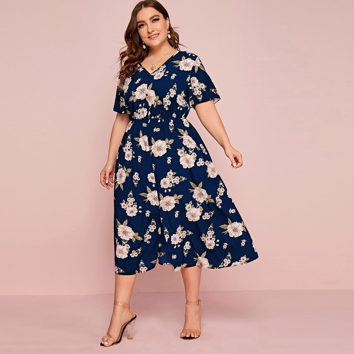 Темно-синий Разрез Цветочный Бохо Платья размер плюс