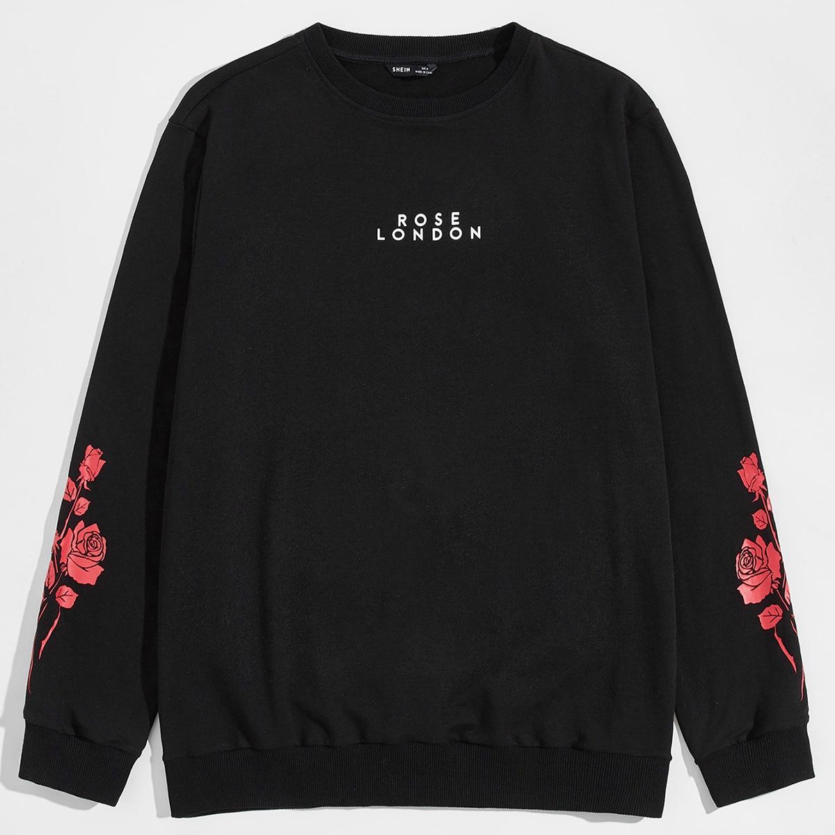 Мужской пуловер с текстовым и цветочным принтом от SHEIN
