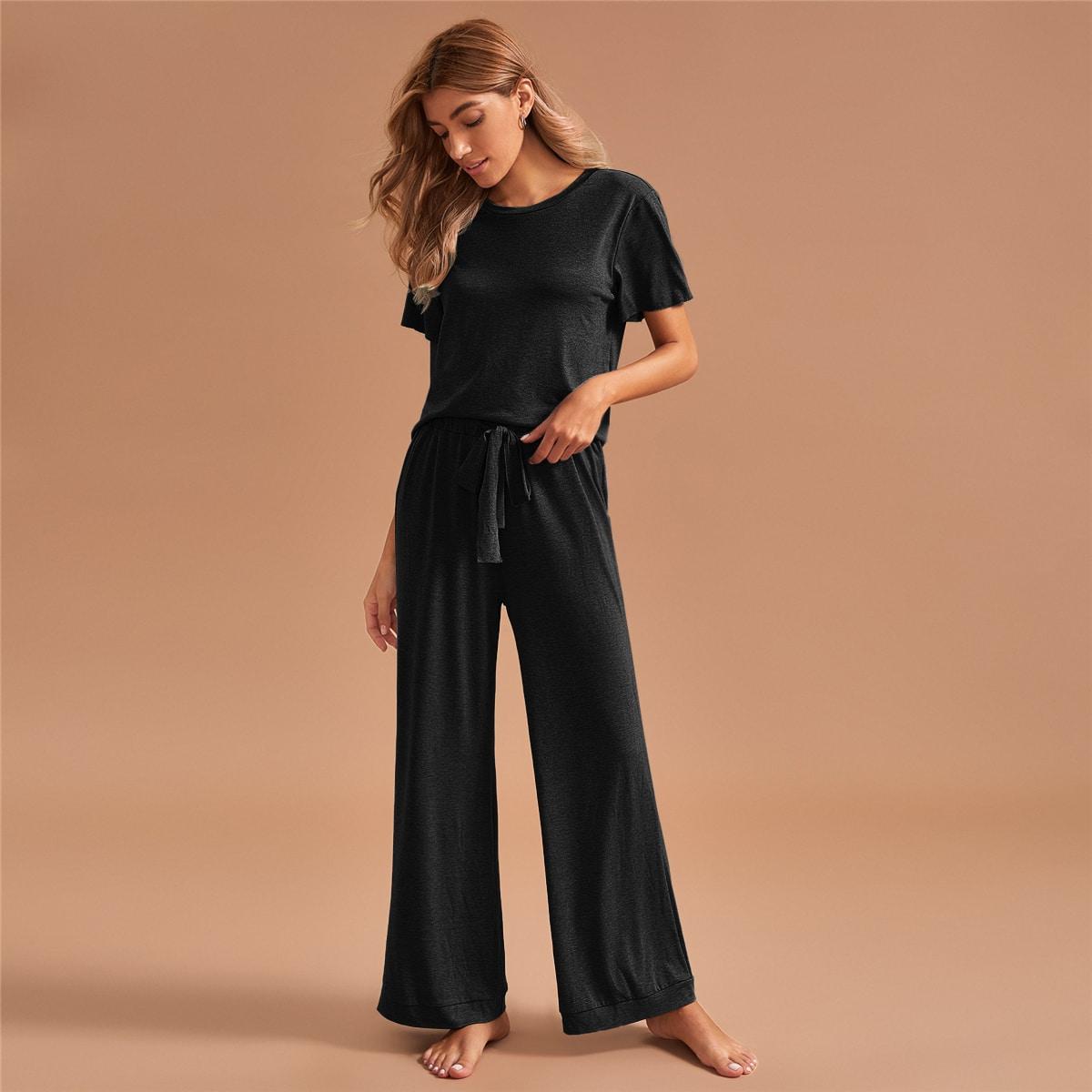 SHEIN / Schlafanzug Set mit rundem Kragen und Kordelzug auf Taille
