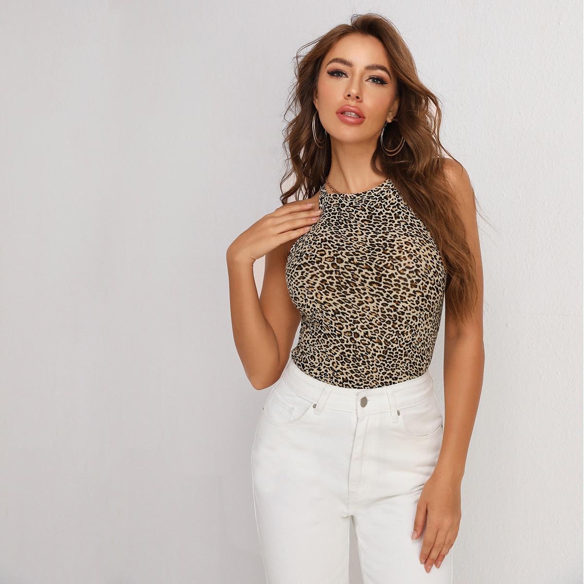 Топ-халтер с леопардовым принтом фото