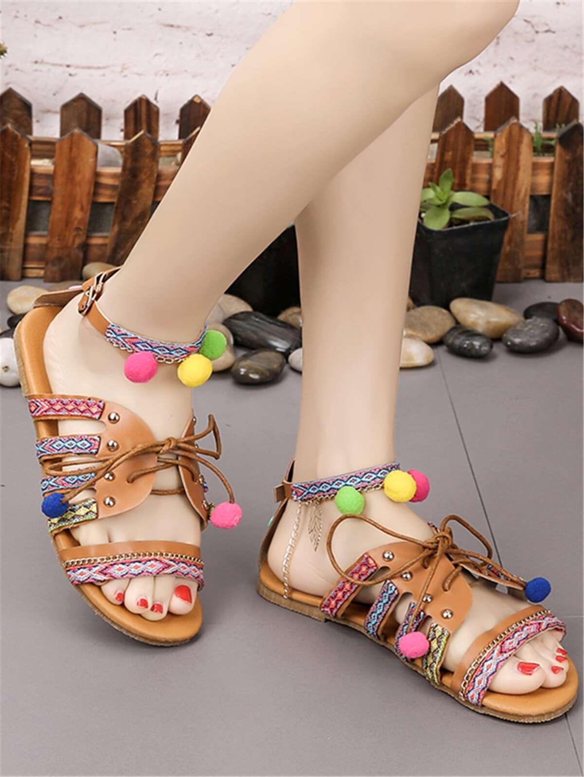 Tribal Pom Pom Lace-up Sandals