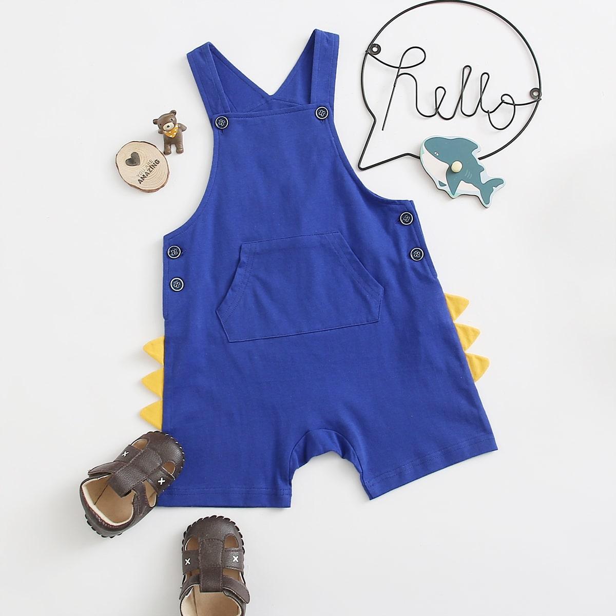 Ярко-синий с карманами милый Комбинезоны для мальчиков от SHEIN