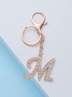 Diamond Inlaid Letter Keychain