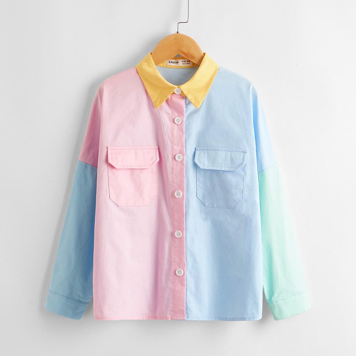 Контрастная куртка с карманом для девочек от SHEIN