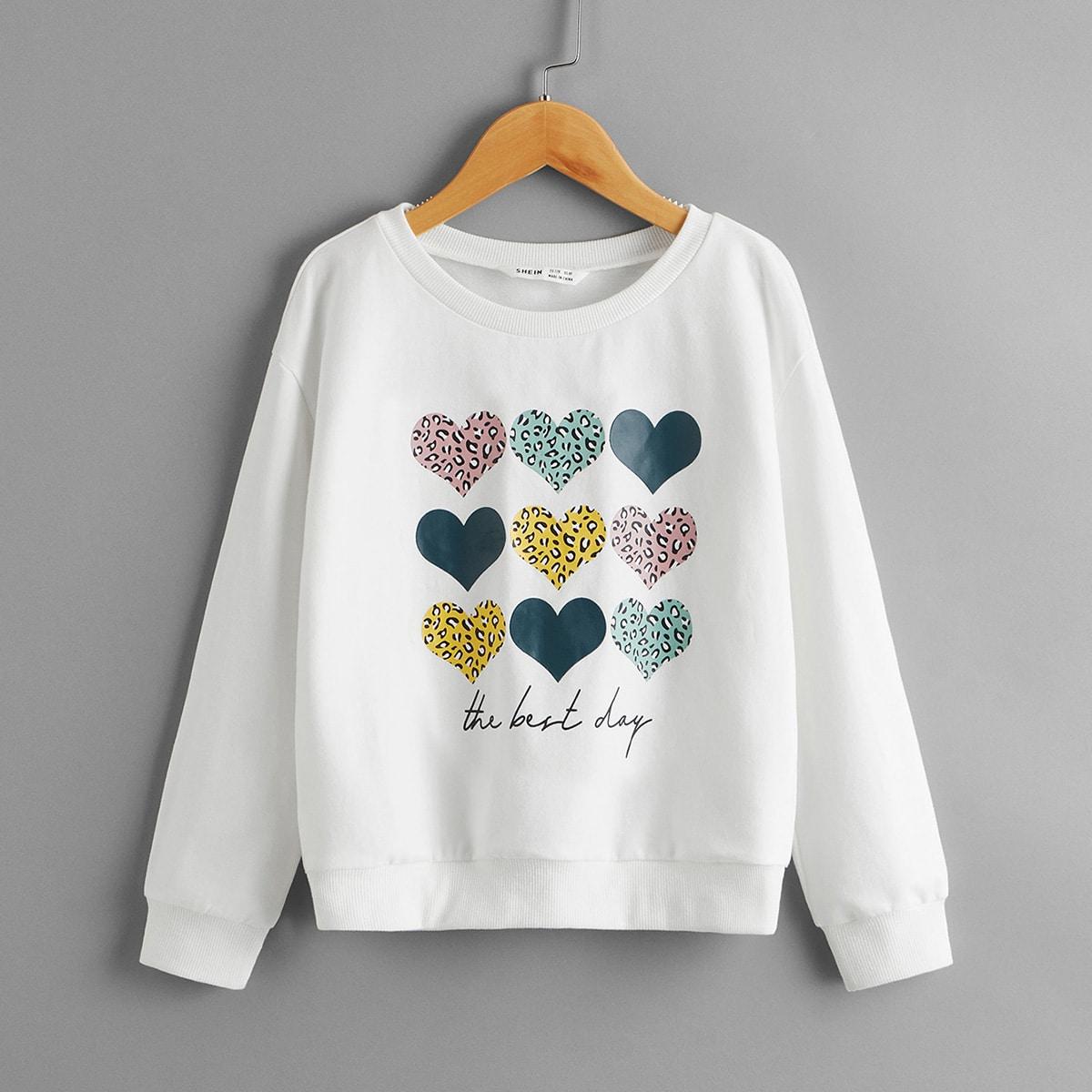 Пуловер с оригинальным принтом для девочек от SHEIN