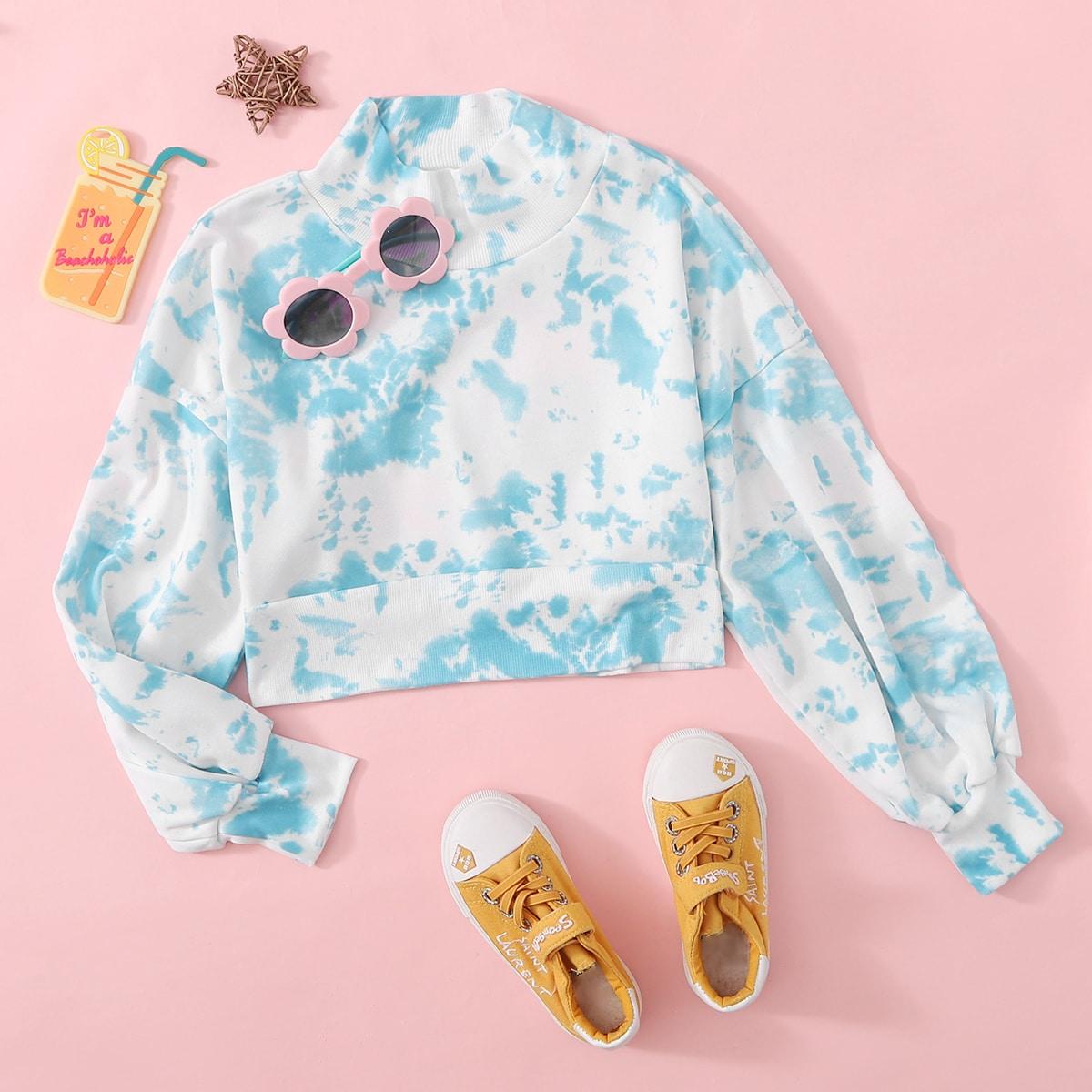 Разноцветный пуловер с высоким воротником для девочек от SHEIN