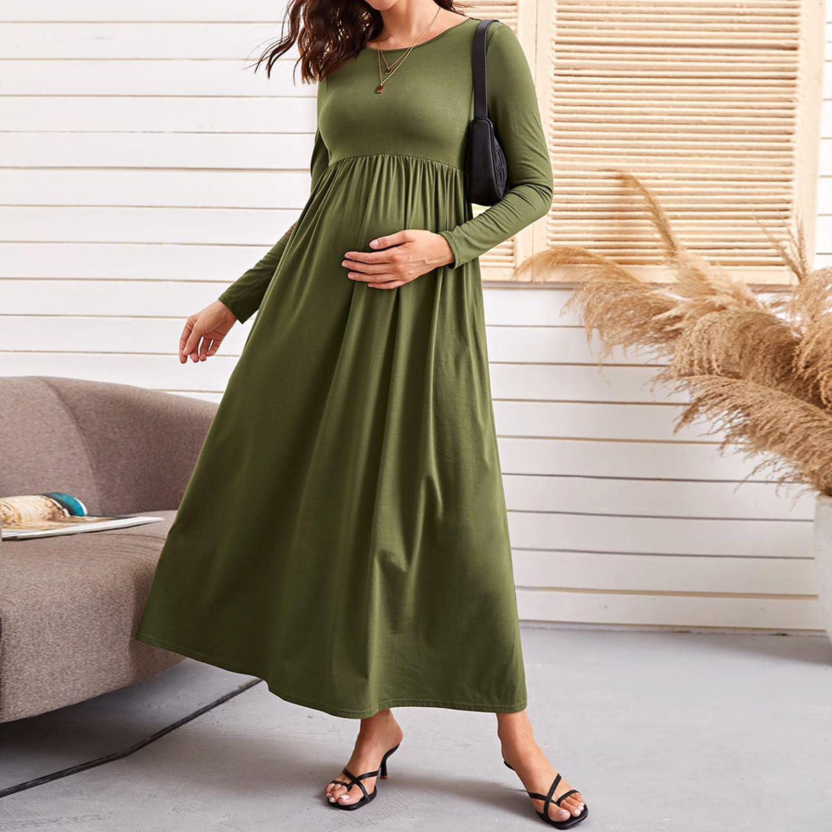 Однотонное макси платье для беременых от SHEIN