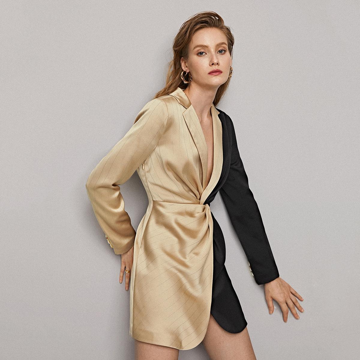 SHEIN / Zweifarbiges Hemdkleid mit Twist
