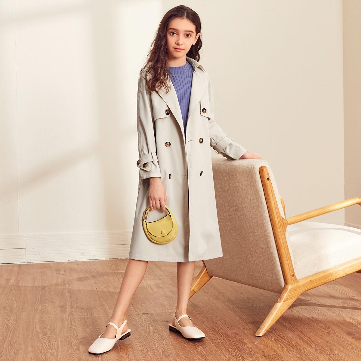 Двубортное пальто с поясом для девочек от SHEIN