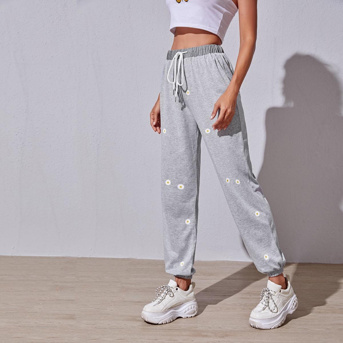 Светло-серый на кулиске Со цветочками Спортивные брюки фото