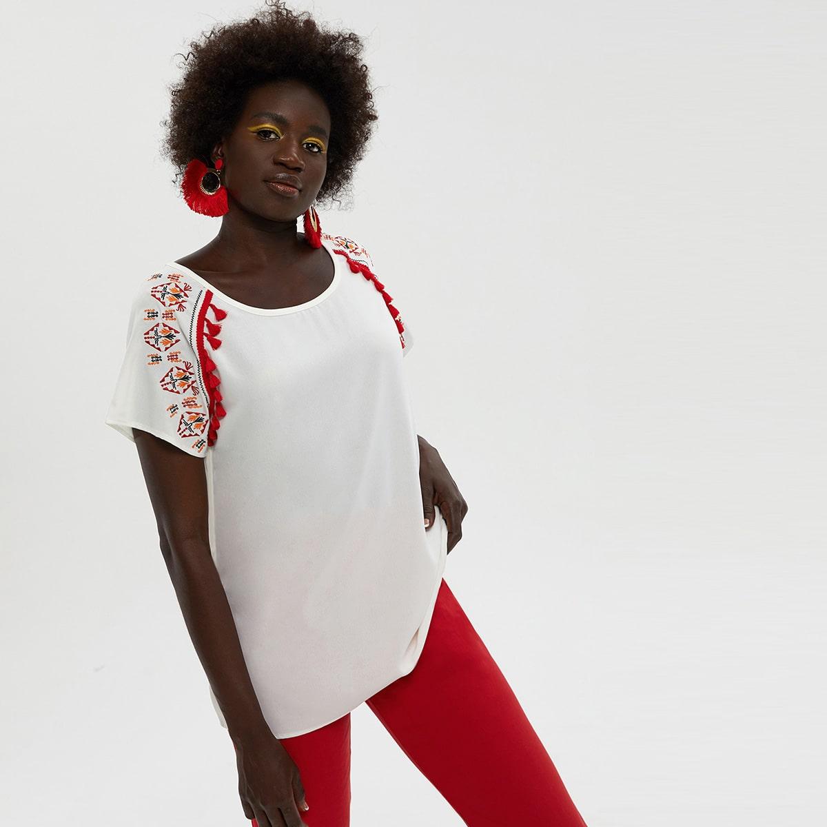 Белый бахрома Этнический Бохо Блузы фото
