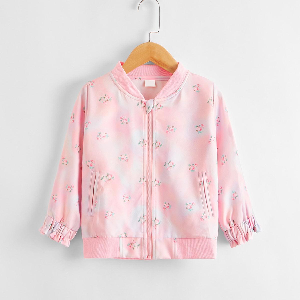 Куртка бомбер с цветочным принтом для девочек от SHEIN