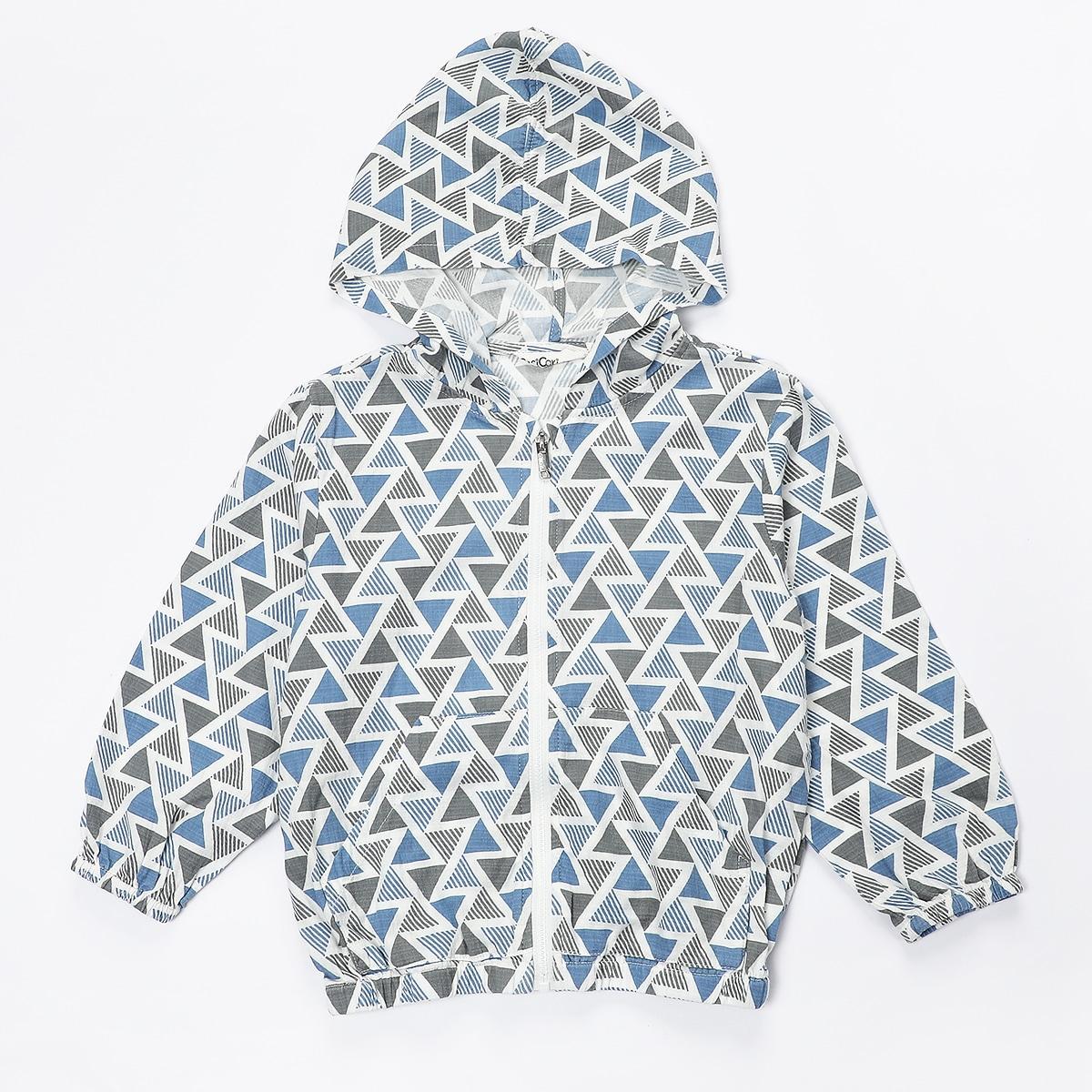 Многоцветный на молнии Геометрический Повседневный Пальто для маленьких мальчиков