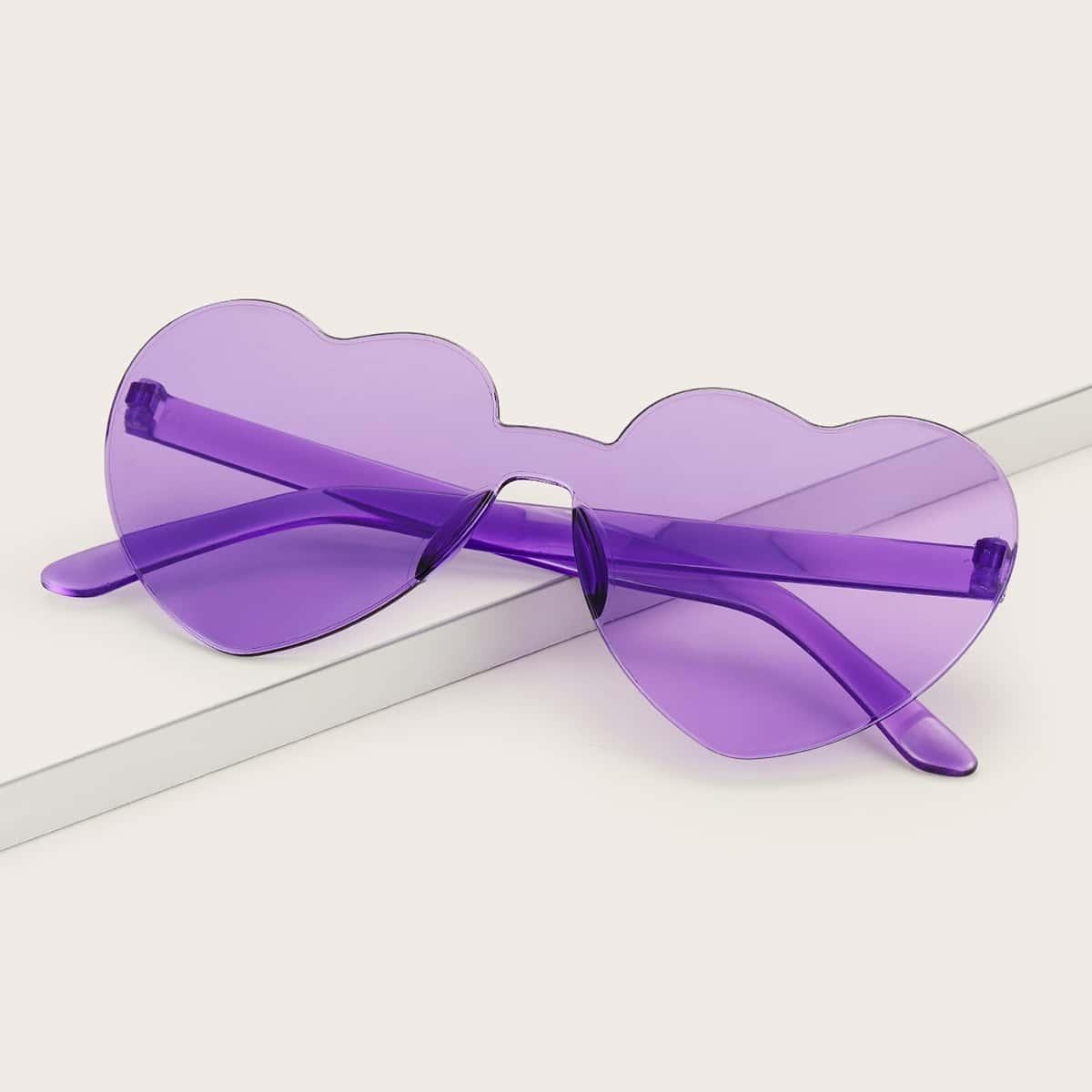 Солнцезащитные очки без оправы в форме сердца