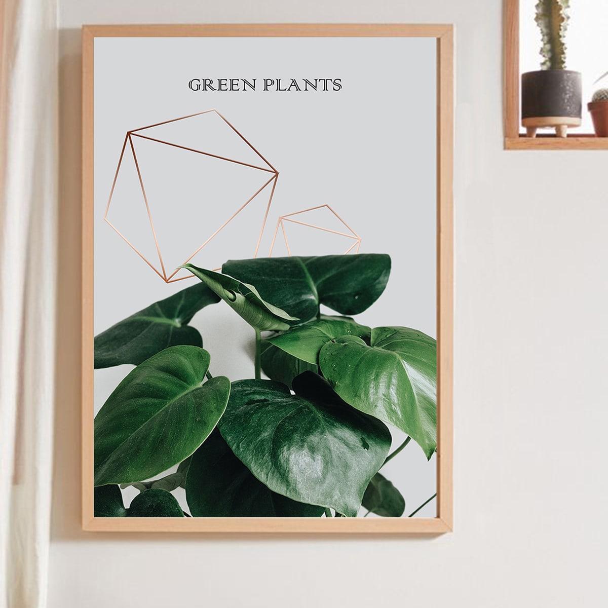 Картины в интерьере с лиственным принтом без рамки фото