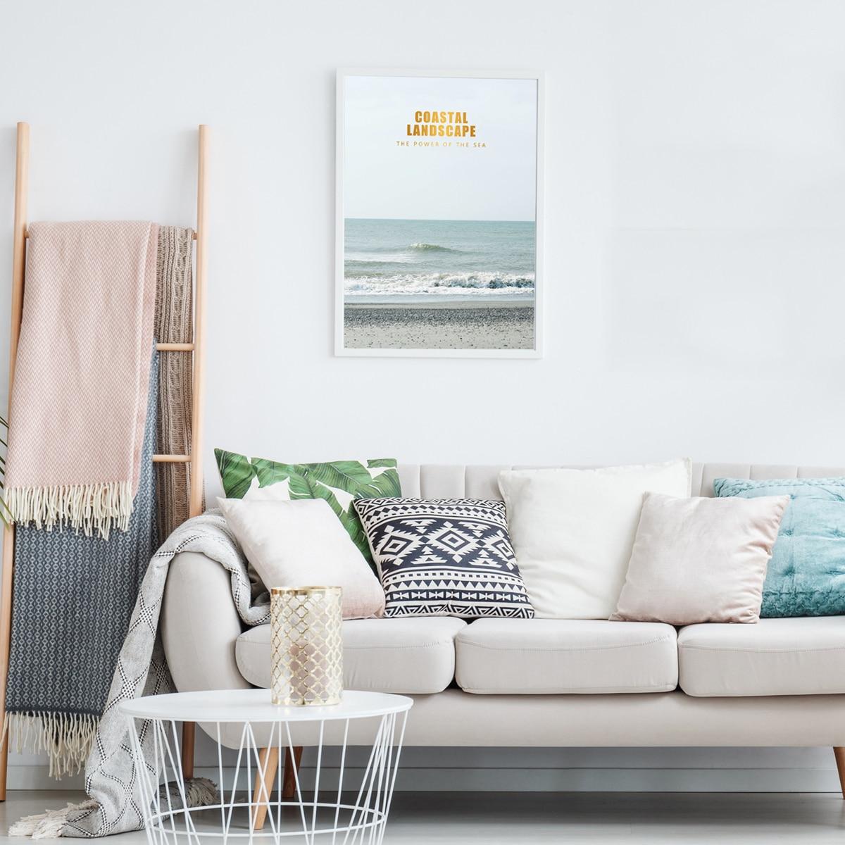 Картины в интерьере с морским принтом без рамки фото