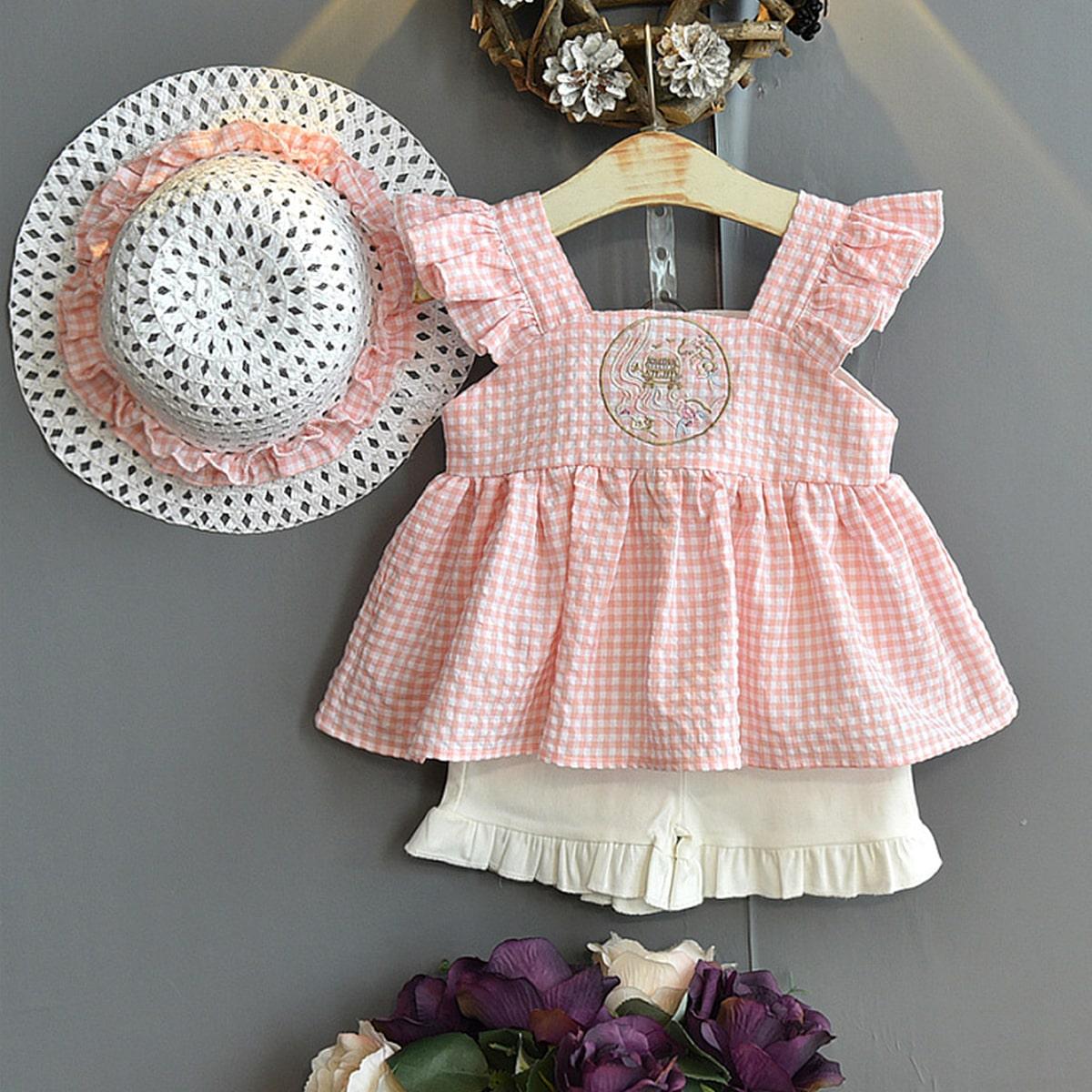 Многоцветный Кайма Клетчатая хлопчатобумажная ткань милый Комплекты для девочек фото