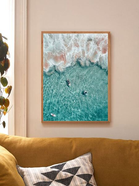 1pc Sea Wave Print Wall Painting Without Frame