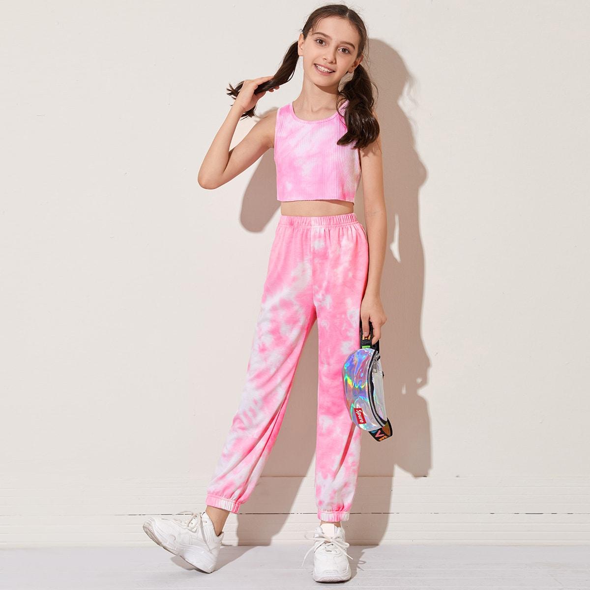 Разноцветный топ и спортивные брюки для девочек от SHEIN
