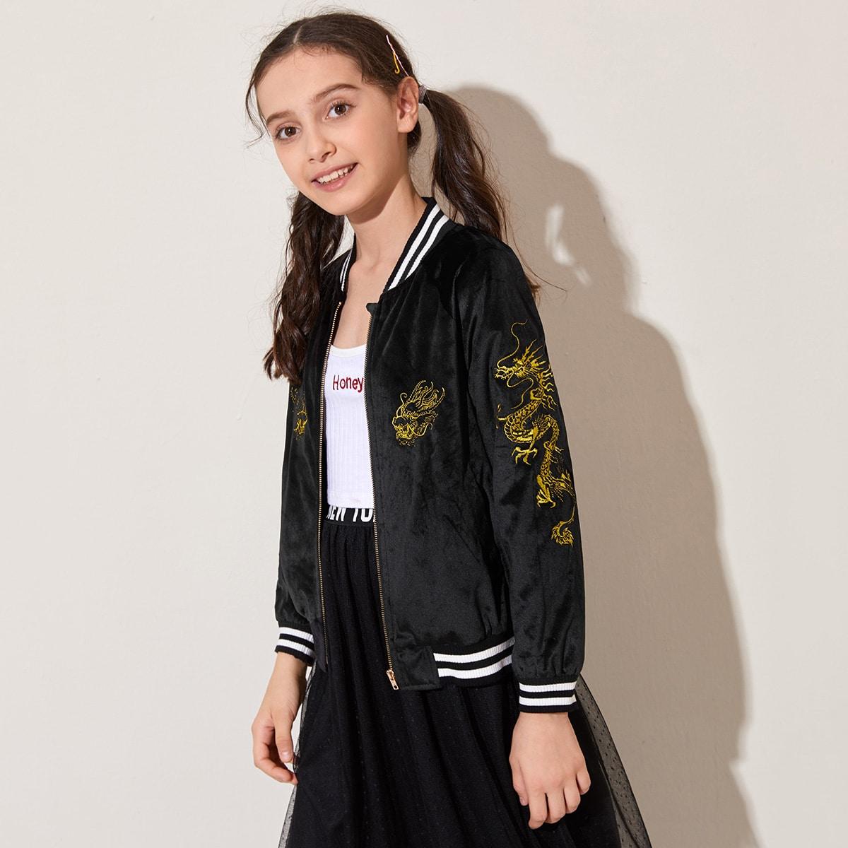 Бархатный жакет-бомбер с вышивкой для девочек от SHEIN