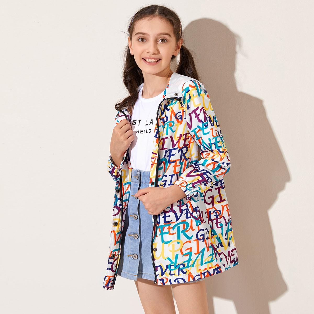 Куртка с капюшоном и текстовым принтом для девочек от SHEIN