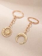 2pcs Sun Crescent Keychain