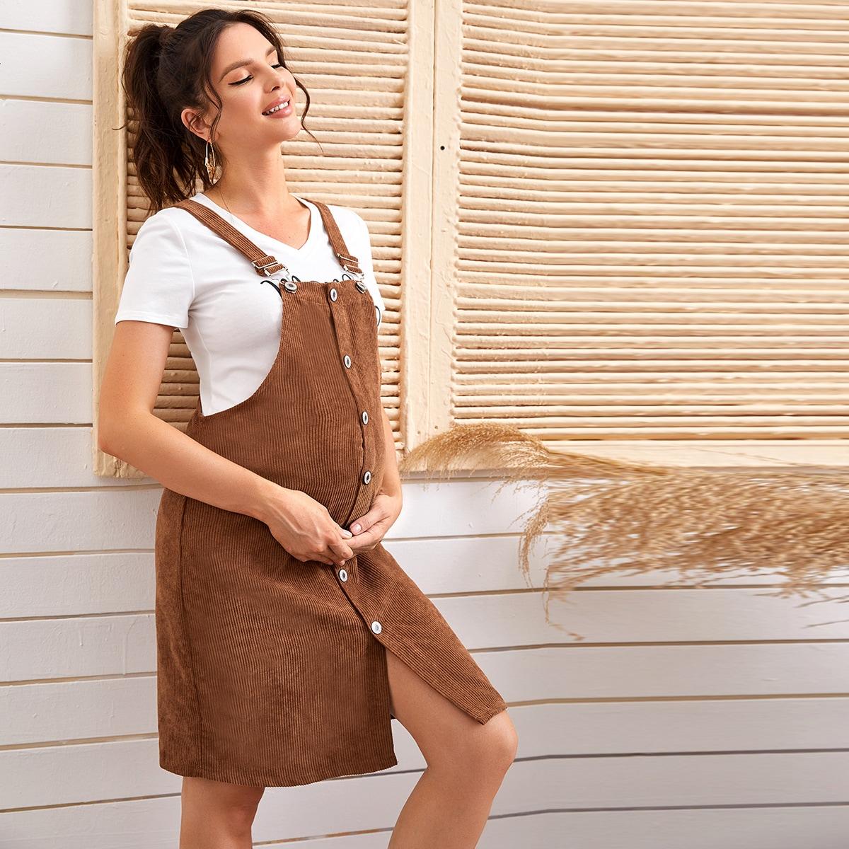 Вельветовое платье-сарафан с пуговицами для беременных от SHEIN