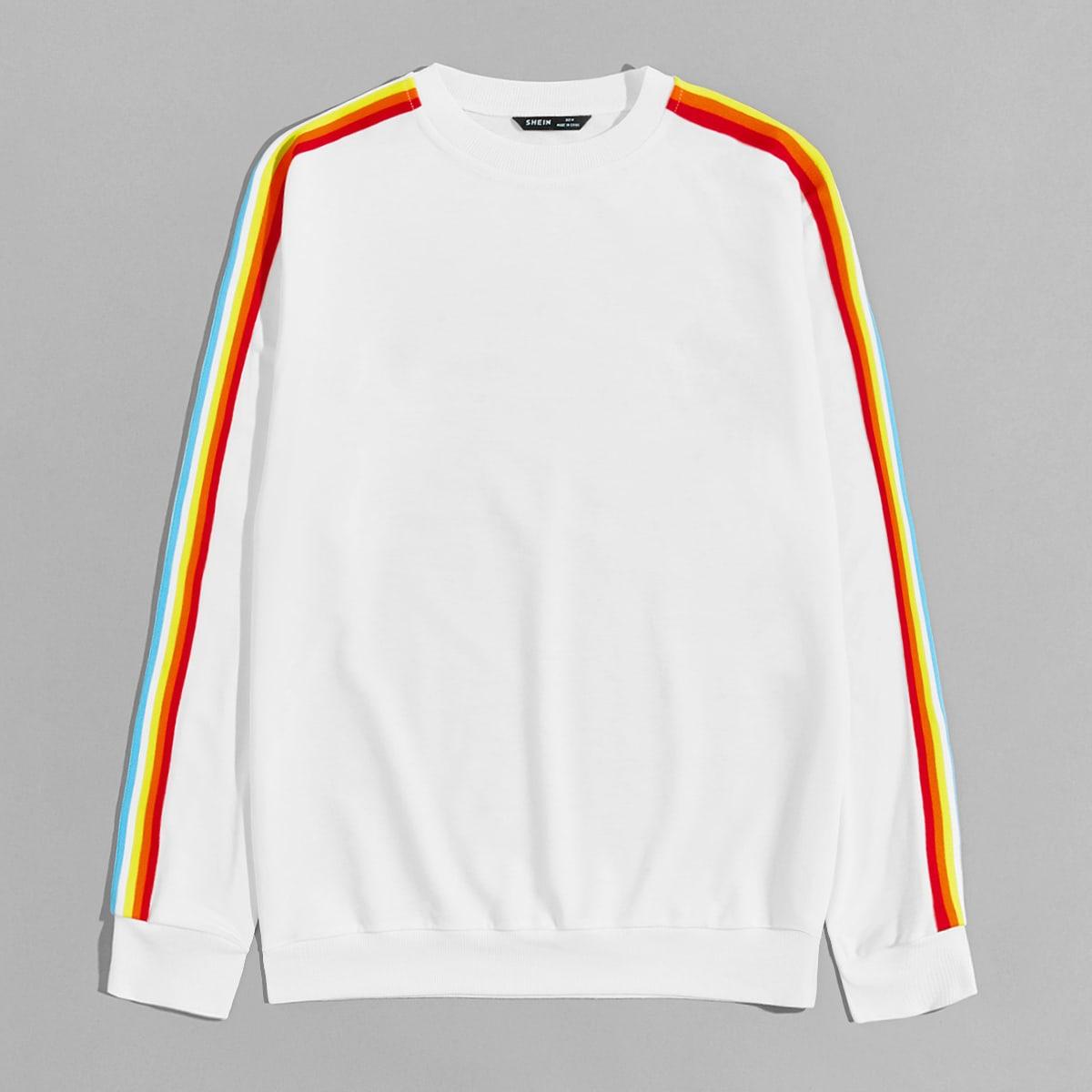 Мужской пуловер с радужными полосками от SHEIN