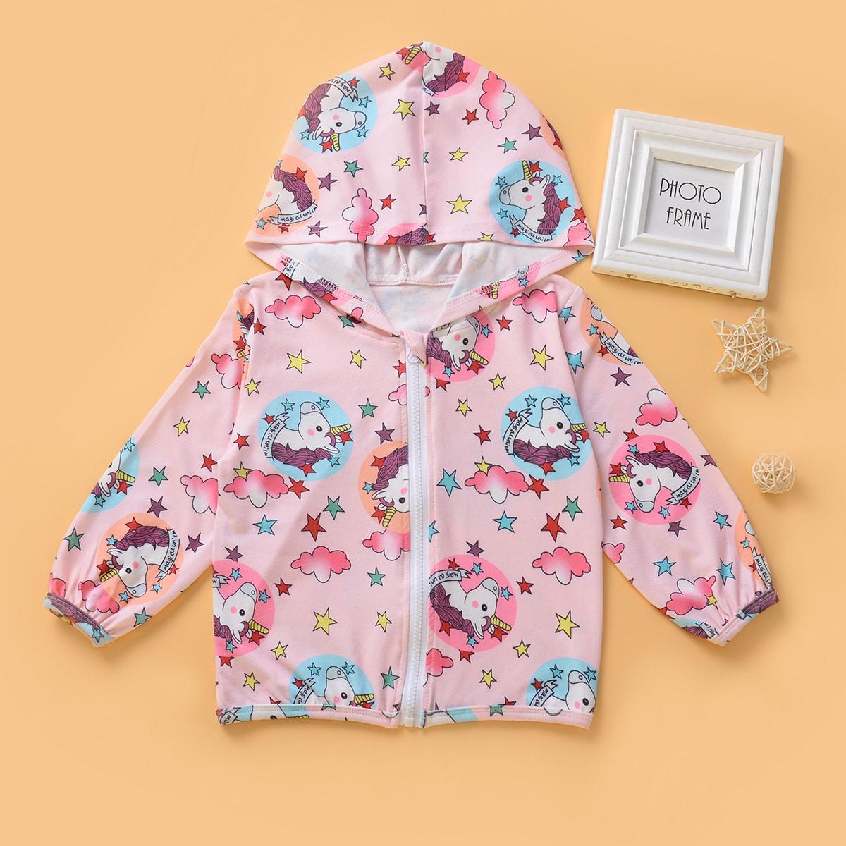 Нежний Розовый С карикатурой Повседневный Пальто для маленьких девочек от SHEIN