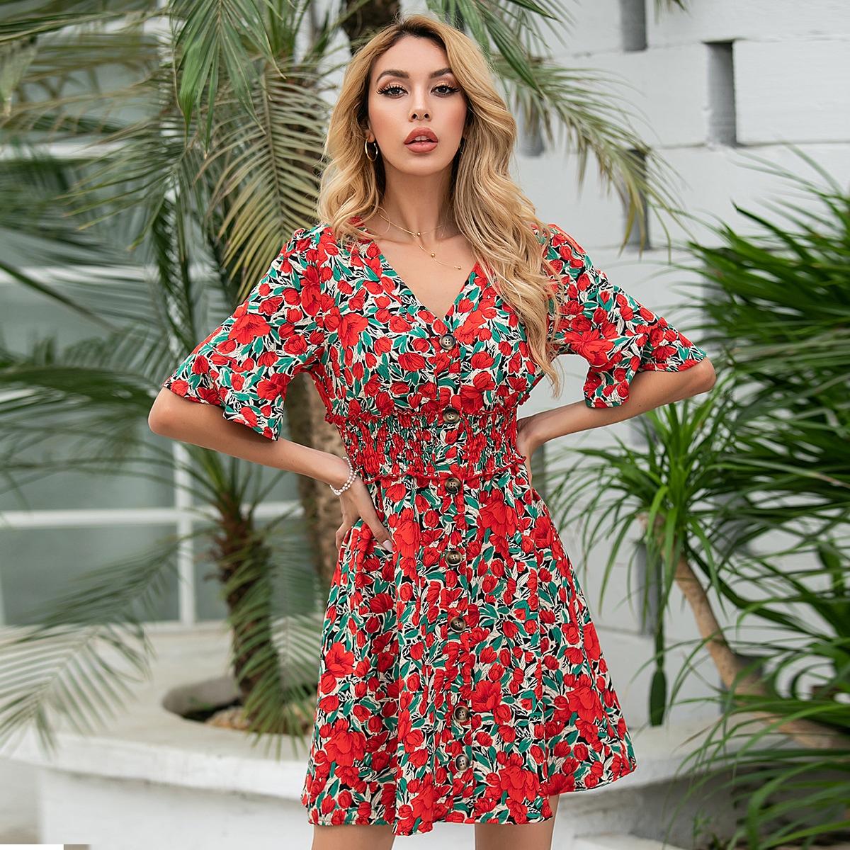 SHEIN / Allover Floral Print Shirred Waist A-line Dress